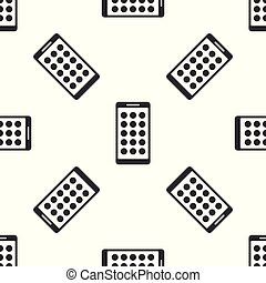 Grey Mobile Apps icon isolated seamless pattern on white background. Smartphone with screen icons, applications. mobile phone showing screen. Vector Illustration