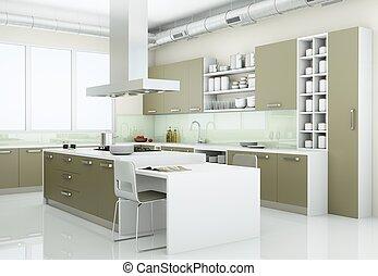 Grey modern kitchen in loft with big windows