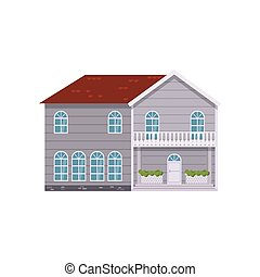Grey modern two-story house isolated on white background - ...