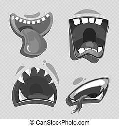 Grey monster mouths vector isolated on transparent background