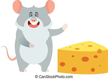 Grey Mouse and a Piece of Cheese