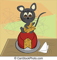 grey mouse with cheese