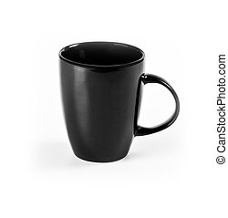 Grey mug on white background.