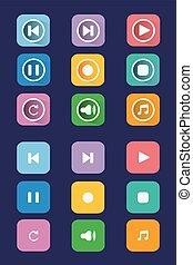 Grey multimedia buttons set.