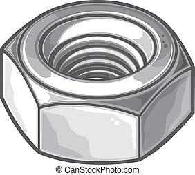 grey nut (metal nut, screw nut, mechanical nut)