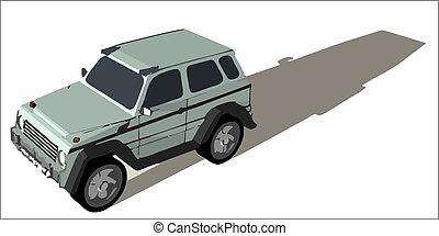 Grey off road car