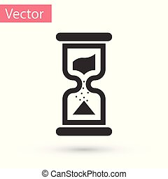 Grey Old hourglass with flowing sand icon isolated on white background. Sand clock sign. Business and time management concept. Vector Illustration