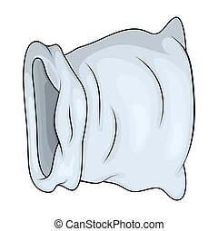 Grey open empty bag for money. sack for gold Vector illustration. old medieval purse icon in cartoon style.