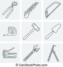 vector various grey outline house repair instruments equipment icons