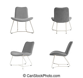 Grey padded Chair on white background