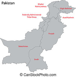 Grey Pakistan map - Map of administrative divisions of...