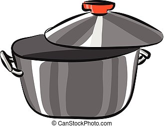 Grey pan, vector or color illustration.