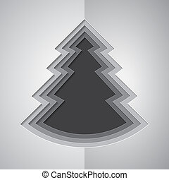 Grey paper cutout christmas tree