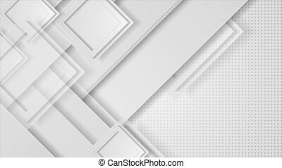Grey paper hi-tech geometric abstract motion background with squares. Seamless looping. Video animation Ultra HD 4K 3840x2160