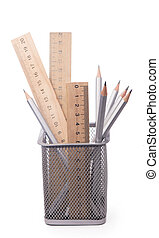 Grey pencil isolated on the white background.