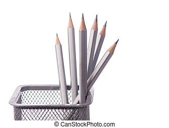Grey pencil isolated on white background.