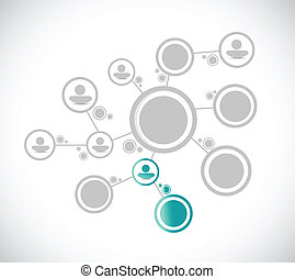 grey people diagram network connection