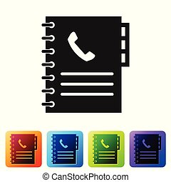 Grey Phone book icon isolated on white background. Address book. Telephone directory. Set icon in color square buttons. Vector Illustration