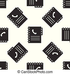 Grey Phone book icon isolated seamless pattern on white background. Address book. Telephone directory. Vector Illustration