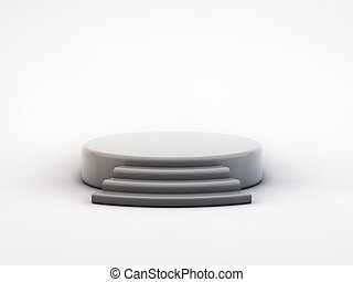 grey podium on white  background