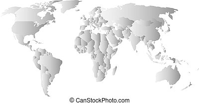 Grey political map of World. Each state with own horizontal...