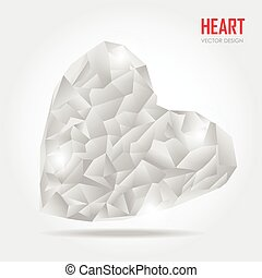 grey Polygonal heart, Vector Illustration on white background