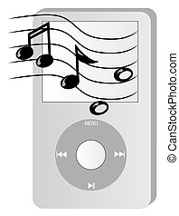 music player with musical notes - grey portable mp3 music...