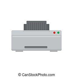 Grey printer icon, flat style