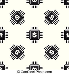 Grey Processor chip with dollar icon isolated seamless pattern on white background. CPU and a dollar sign. Vector Illustration