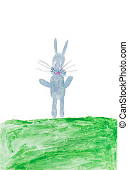 Grey rabbit on a green meadow in watercolor
