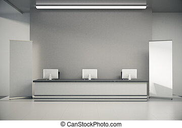 Grey reception desk - Front view of grey interior with blank...