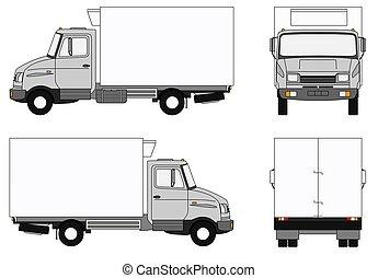 Grey refrigerator lorry - Illustration of a modern grey...