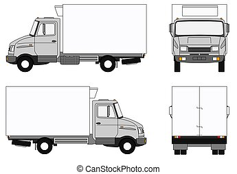 Illustration of a modern grey refrigerator lorry