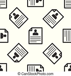 Grey Resume icon isolated seamless pattern on white background. CV application. Searching professional staff. Analyzing personnel resume. Vector Illustration