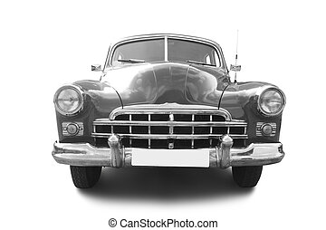 grey retro automobile isolated on white background