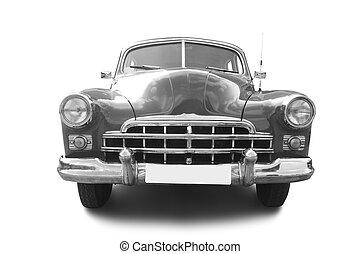 retro automobile - grey retro automobile isolated on white...