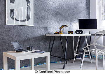 Grey room with modern creative design