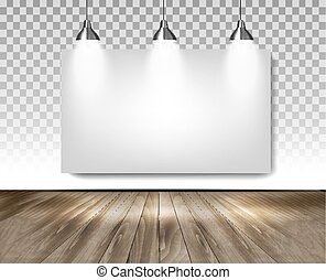 Grey room with three lights and wooden floor. Showroom concept. Vector.