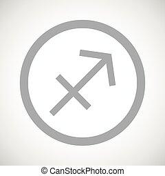 Grey sagittarius sign icon