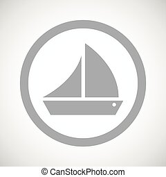 Grey sailing ship sign icon
