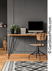 Grey scandi workspace interior