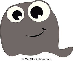 Grey scarry ghost vector illustration on white background