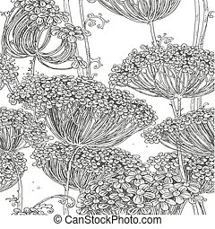 Grey seamless pattern of flowers