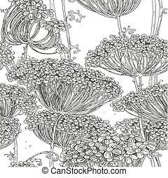 Grey seamless pattern of flowers - Vintage grey seamless ...