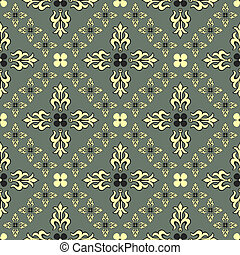 Grey seamless vintage decorative pattern (vector)