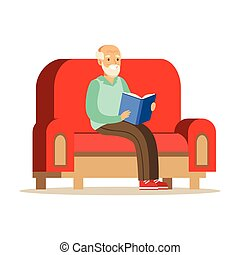 Grey senior man sitting on the sofa and reading a book colorful character vector Illustration