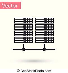 Grey Server, Data, Web Hosting icon isolated on white background. Vector Illustration