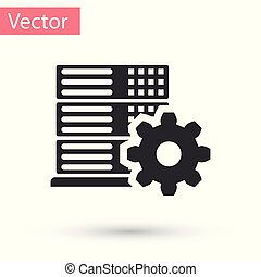 Grey Server setting icon isolated on white background. Vector Illustration