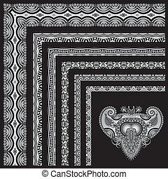 grey set of seamless ornamental floral stripes, black and white