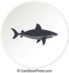 Grey shark fish icon circle